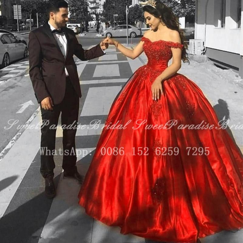 Fotos reais quinceanera vermelho vestidos com apliques grânulos 2020 fora do ombro longo capela trem baile de formatura vestido de 15