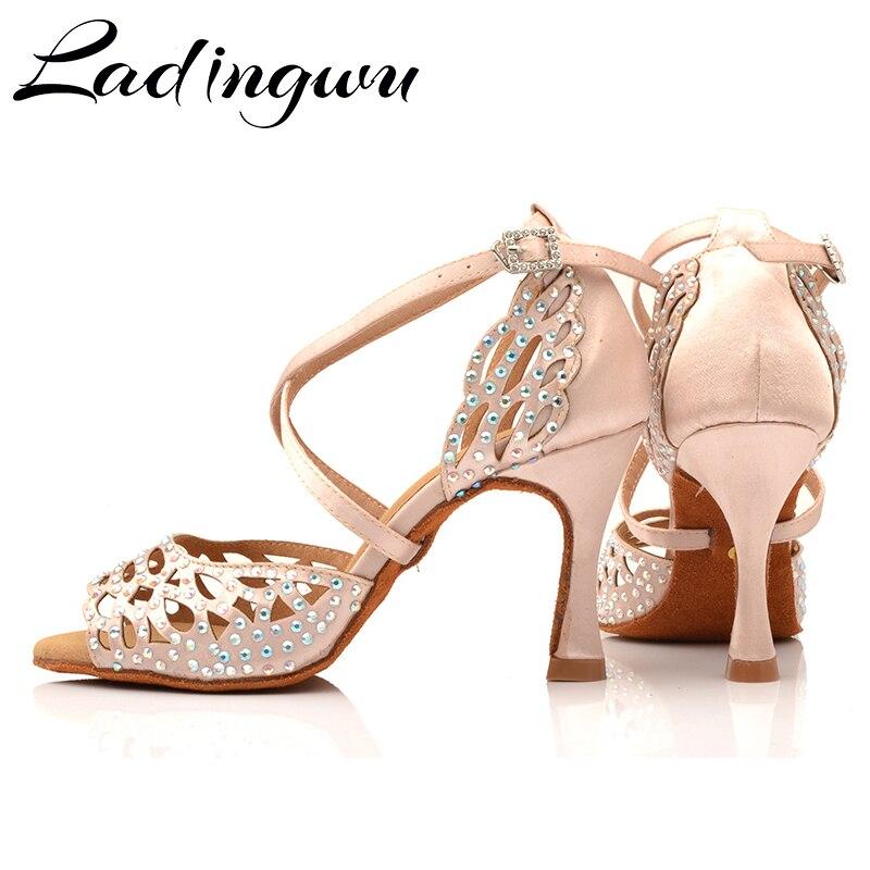 Ladingwu/женские туфли для латинских танцев с лазерными стразами; Цвет Черный; атласная обувь для сальсы; обувь для латинских танцев; кроссовки; обувь для танцев