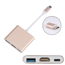 Type C USB 3.1 to HDMI / USB 3.0 / USB C Adapter Charging Port Aluminum Material for Macbook VDX99