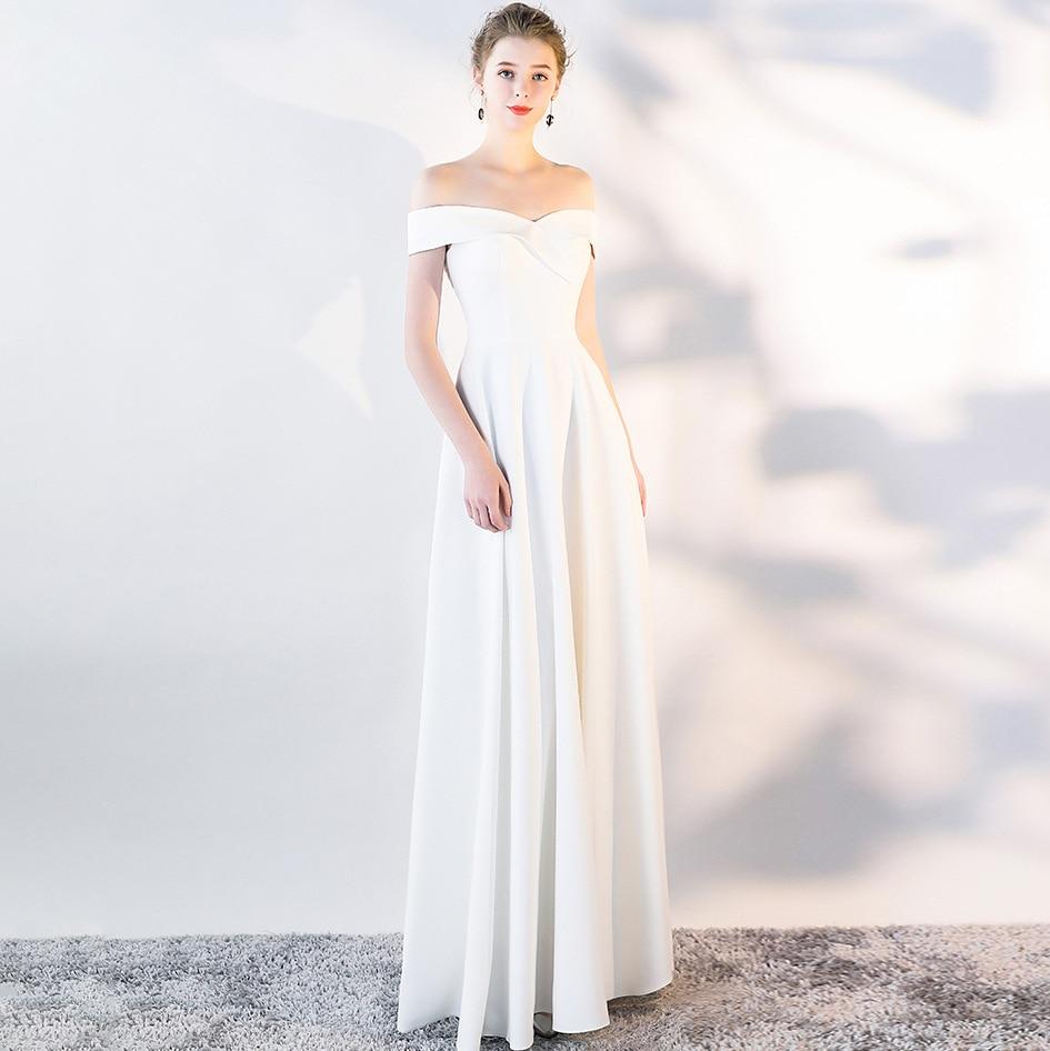 Вечернее платье 2020 Новое банкетное вечернее платье с открытыми плечами сексуальное длинное платье для выпускного вечера простое платье в пол Vestido De Noite
