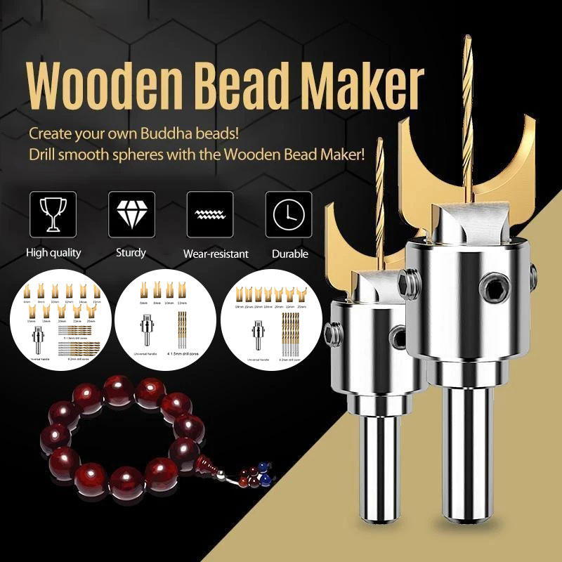 New Wooden Bead Maker Set Woodworking Hand Tools Premium Wooden Bead Ball Router Bit Woodworking Tools Drop Shipping