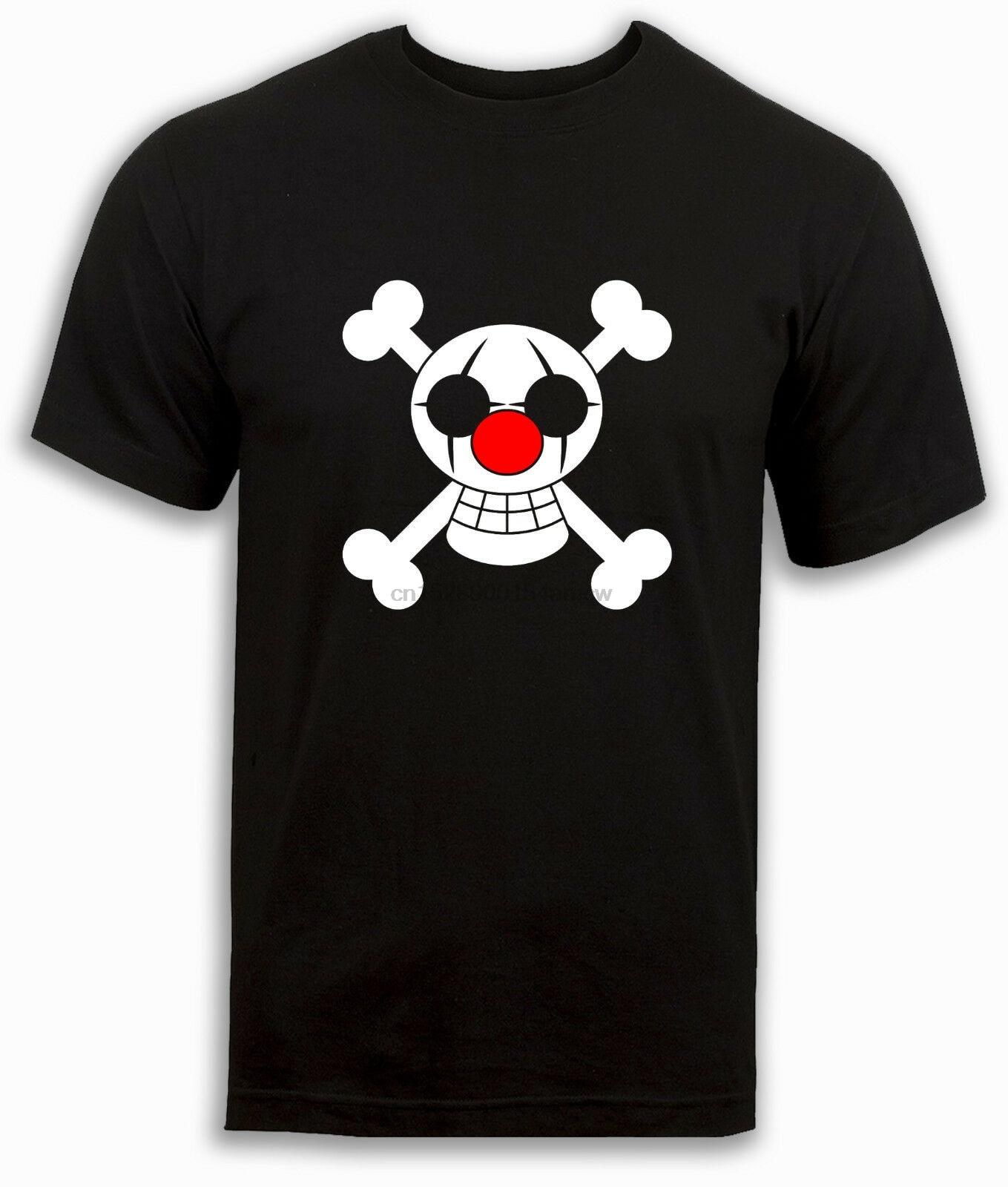Una pieza camiseta Buggy piratas payaso pirata bandera Anime negro Top hombres S a 2XL