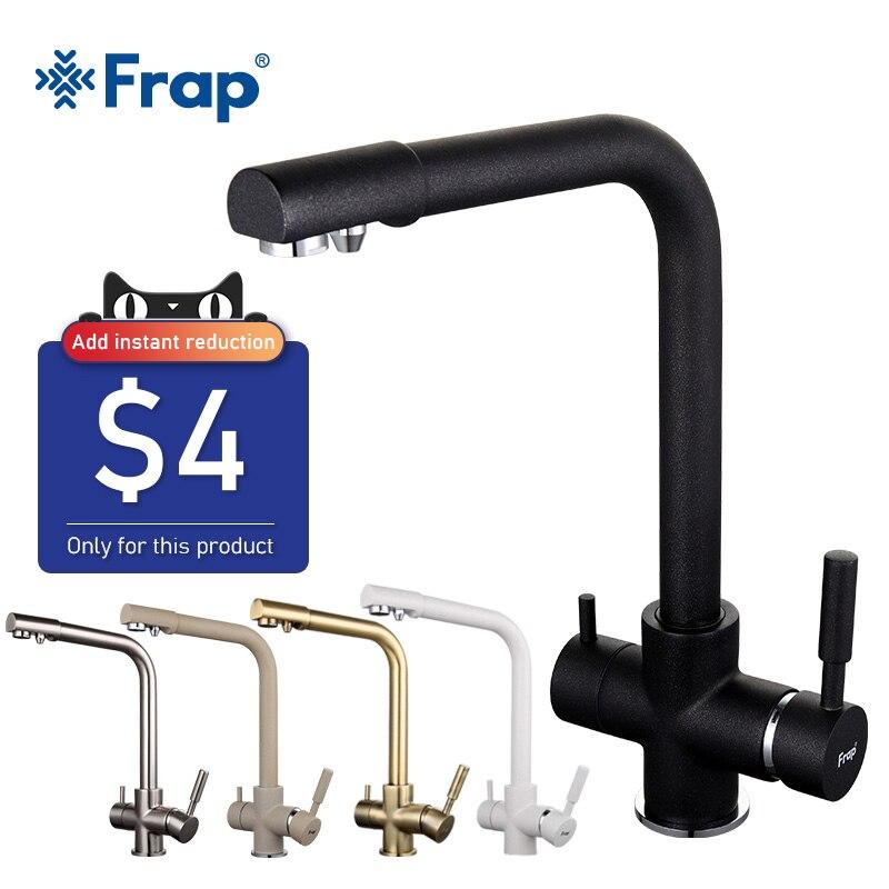 Frap New Black Kitchen sink Faucet mixer Seven Letter Design 360 Degree Rotation Water Purification tap Dual Handle F4352 series