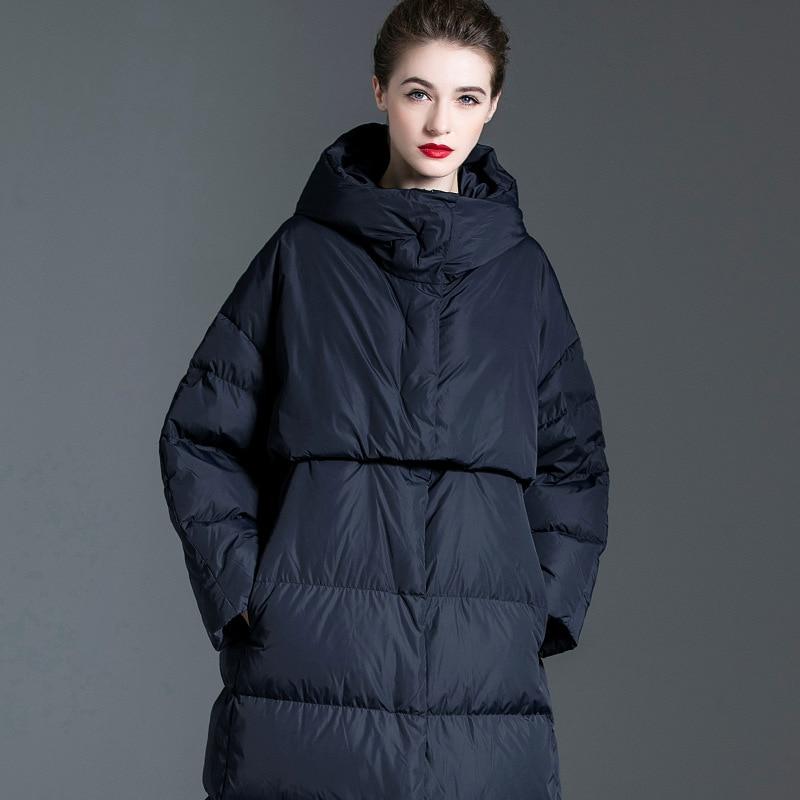 Women down coats luxury autumn winter warm fashion 90% white duck down Jackets Female lady long puffer hooded casual navy blue