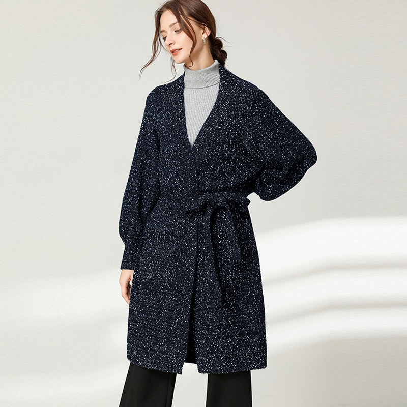 Knit Sweaters Lace Up Open Stitch Coats  Women Winter  Thick  Warm Outwear Plus Size  Long  Knit  Sweaters Trench Coats Outwear enlarge
