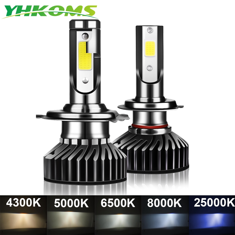 YHKOMS 80W 14000LM Car Haedlight H4 H7 H1 LED H8 H9 H11 4300K 5000K 6500K 8000K 25000K Auto fog Light 80W 16000LM 12V LED Bulb