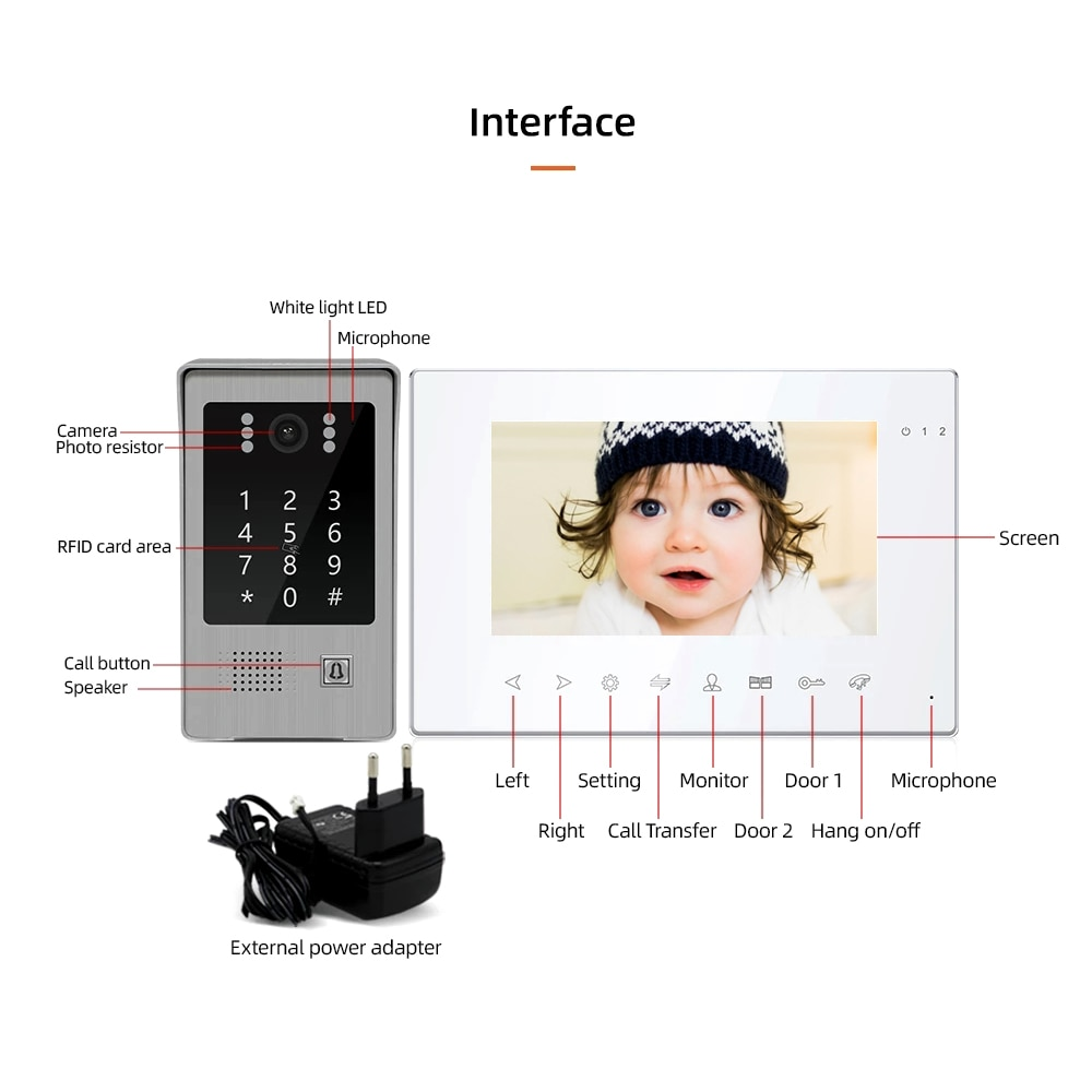 Tuya Smart Wifi 7'' 960P Video Doorbell Intercom System for Home Security Motion Detection Password RFID Card App Remote Control enlarge