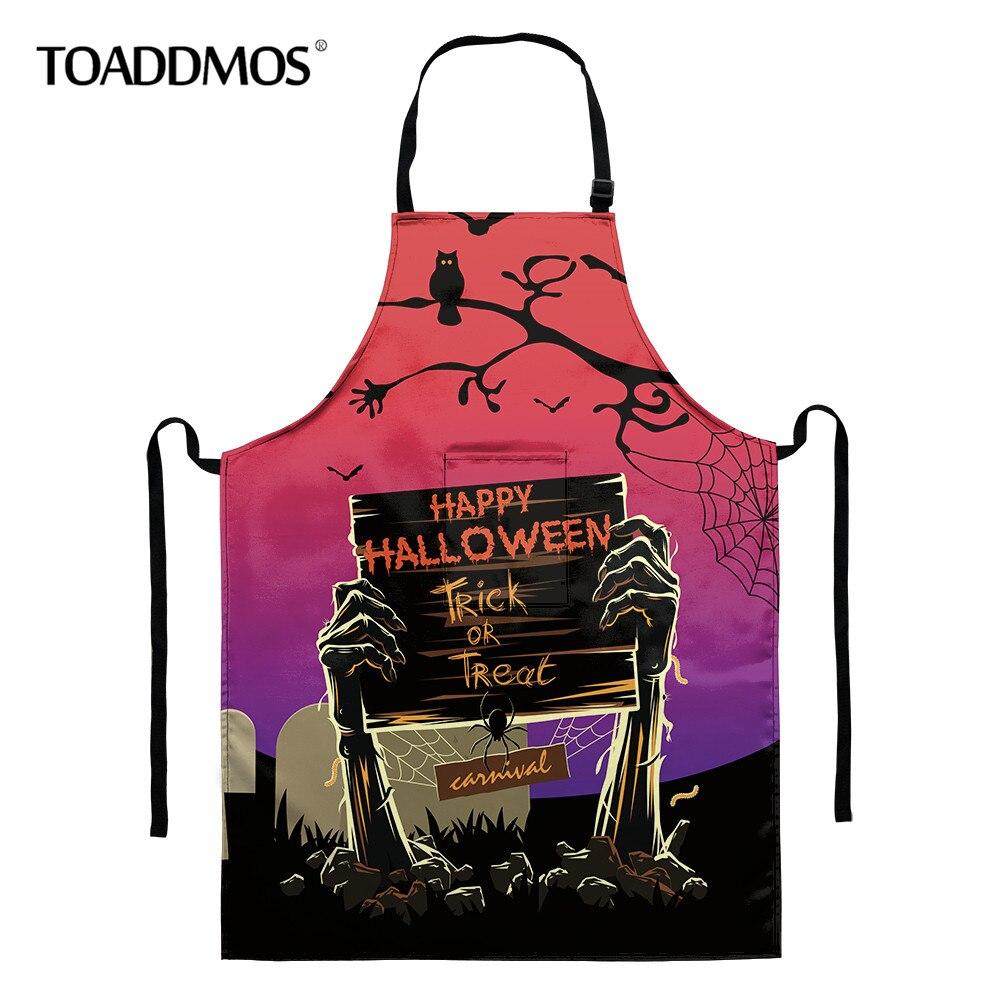 Delantales de diseño de Halloween para hombres y mujeres, accesorios de cocina...