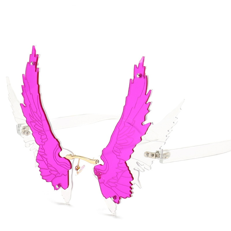 Unique Oversize Angel With Wings Sunglasses Fashion Eagle Wing Rimless Shades Men And Women Funny Personality Sun Glasses UV400