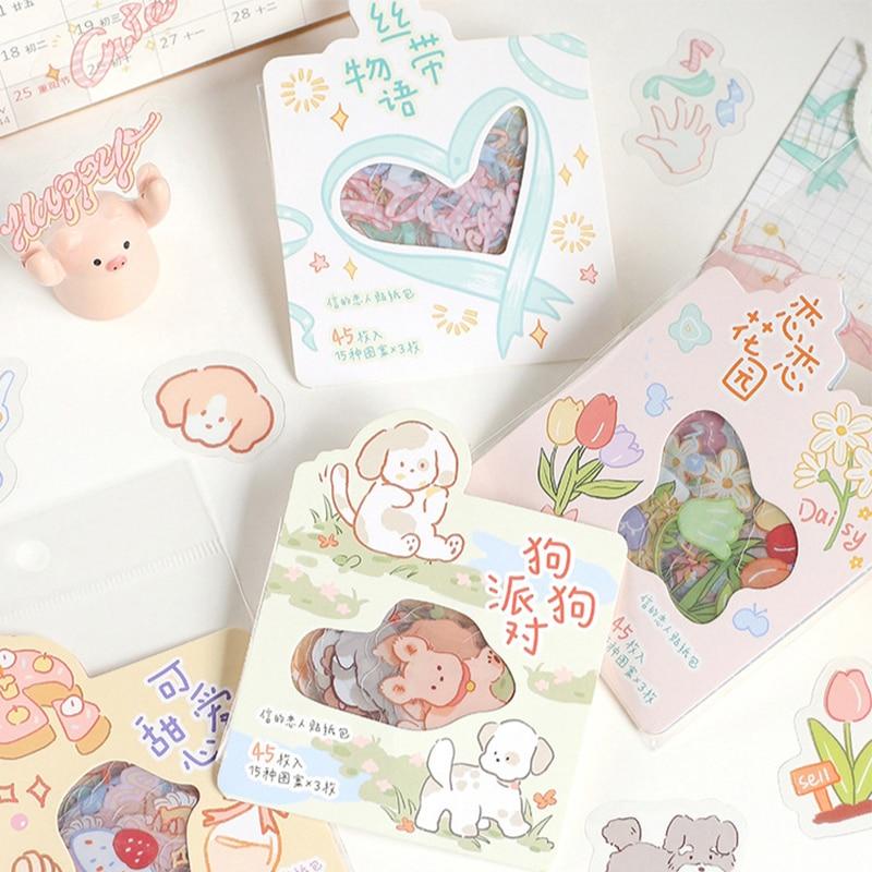 1-paquete-40-uds-pegatinas-kawaii-perro-liston-con-flores-adhesivos-decorativos-de-pvc