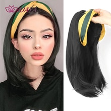 HUAYA-Peluca de media cabeza sintética para mujer, pelo corto/largo recto con diadema, extensiones de cabello Natural