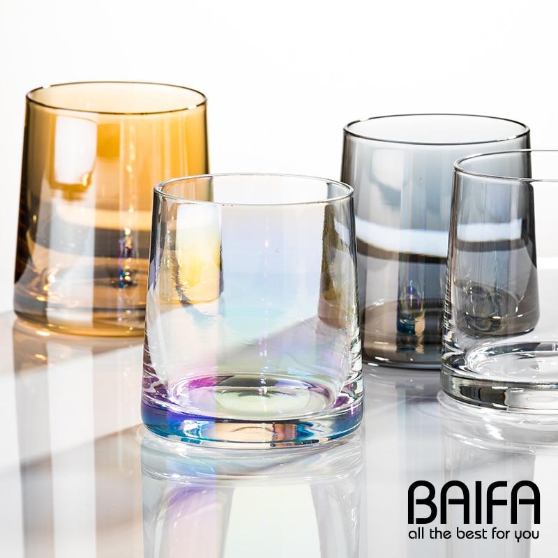 Taza De vino De Cristal De colores, vaso para beber De agua fría, café, té, Whisky, Roca, Copas De cerveza, Vasos De Cristal