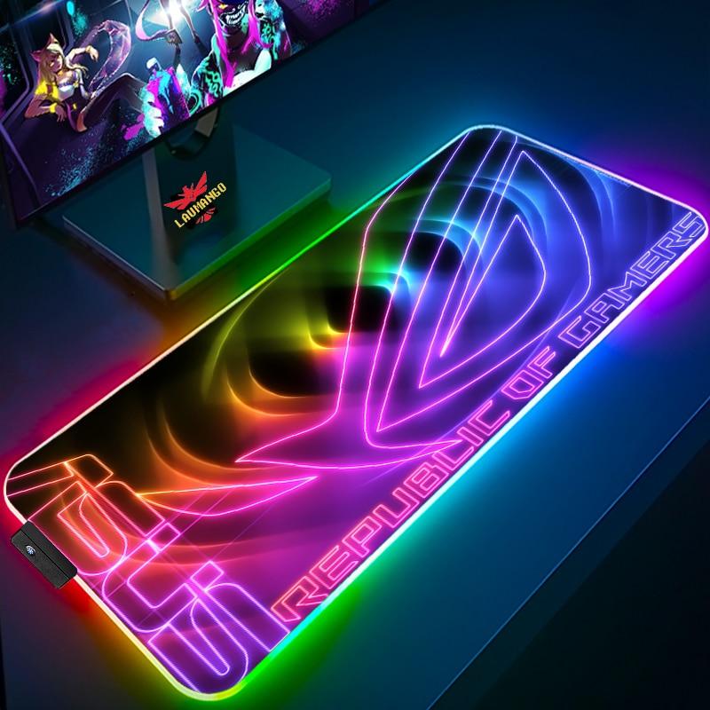 Alfombrilla de ratón para juegos de Asus Rog, alfombrilla RGB Led de...