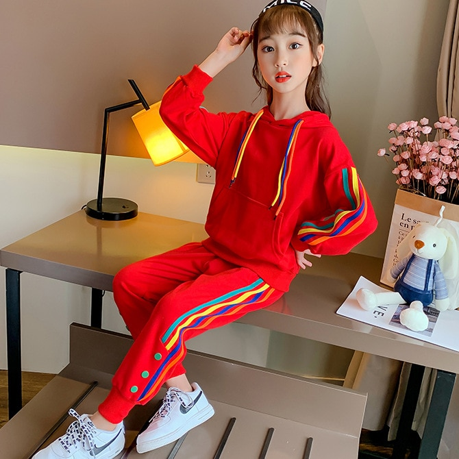 Girls' Sports Suit New Spring Autumn Girls' Sportswear Hooded Coat and Pants Colorful Stripped Sweatshirt Two Piece Set