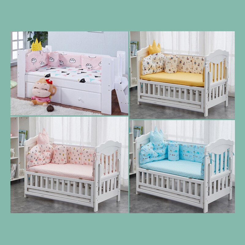 Babyinner Baby Bed Bumper Cotton Crib Fence Cartoon Newborn Cot Protect Washable Anti-collision Bedding 5Pcs/Set Room Decoration enlarge
