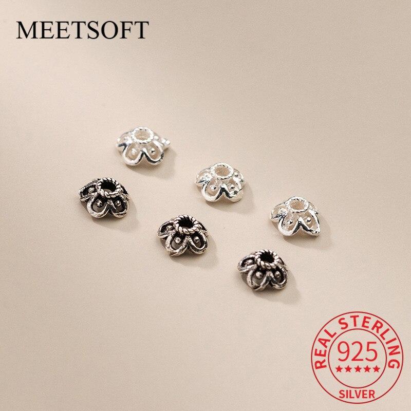 meetsoft-s925-Стерлинговое-серебро-5-шт-лот-цветок-Полые-бусины-шармы-diy-ювелирные-изделия-ручной-работы-Прямая-поставка-оптовая-продажа-аксессуа
