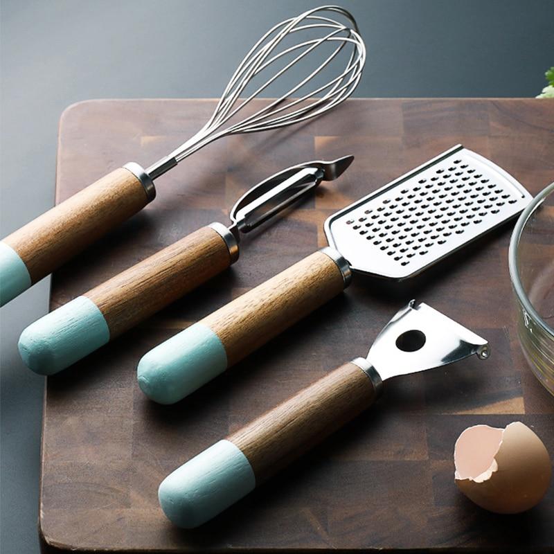 Utensilios de cocina útiles Set cuchillo de fruta pelador de patatas cortador de verduras plano rallador batidor madera Acero inoxidable zanahoria compañeros