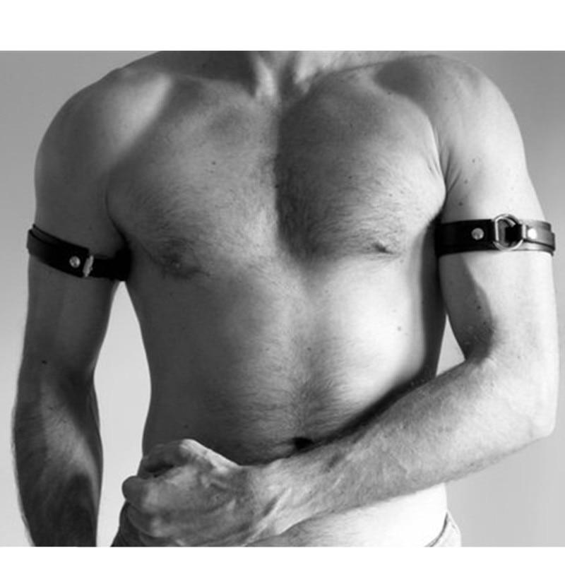 Men Sexy PU Leather Armband Fetish Gay Harness Belts Adjustable BDSM Bondage Body Cage Arm Rings Ero