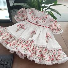 NOVEDAD DE VERANO 2020 VTG ropa de día de los niños traje Floral vestido de estilo Retro solapa pequeña vestido de muñeca Linda vestido de fiesta y vacaciones