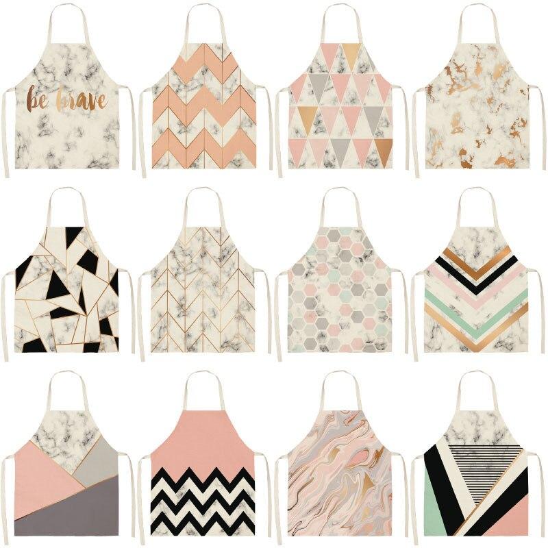 Tabliers de cuisine géométriques imprimés   Pour femmes et hommes, tablier en lin coton de nettoyage 53x65cm G1014, cuisine à domicile, boutique de pâtisserie, 1 pièce
