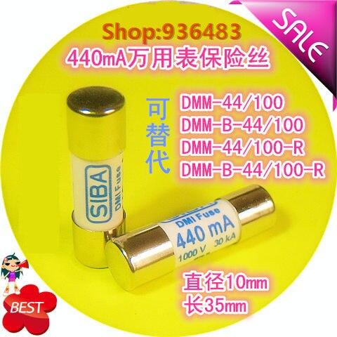 10 unids/lote SIBA fusible 5021006 440mA 1000V 10x35mm reemplaza para DMM-B-44/100 440mA 1000V fusibles multímetro Fluke