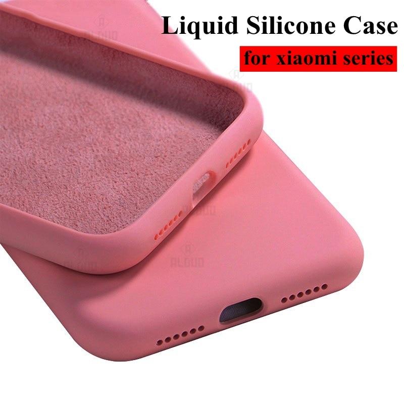Funda Original de silicona líquida para Xiaomi Redmi Note 9 s 8 6 7 9 pro 6A 7A 8A k30, carcasa blanda A prueba de golpes Note 9 s 8 T