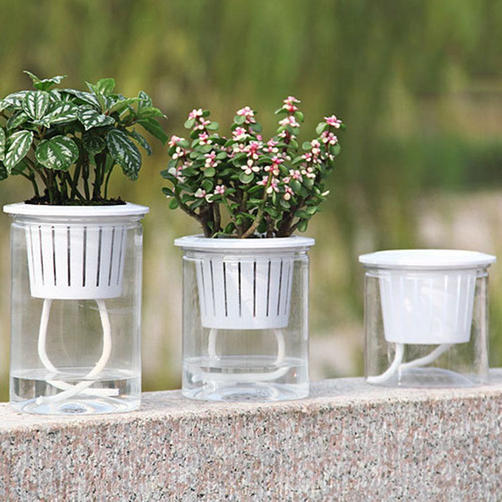 Macetas automáticas transparentes de diseño de capas dobles macetas de absorción de agua macetas de auto riego maceta decoración del hogar