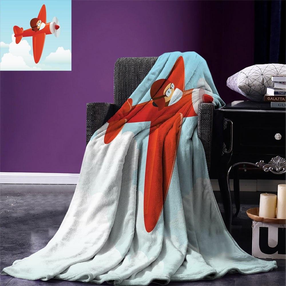 بطانية رمي الأطفال لطيف طائرة تحلق في السماء الغائمة صبي صغير الطيار الطفل الأطفال الكرتون طباعة بطانية دافئة للنوم