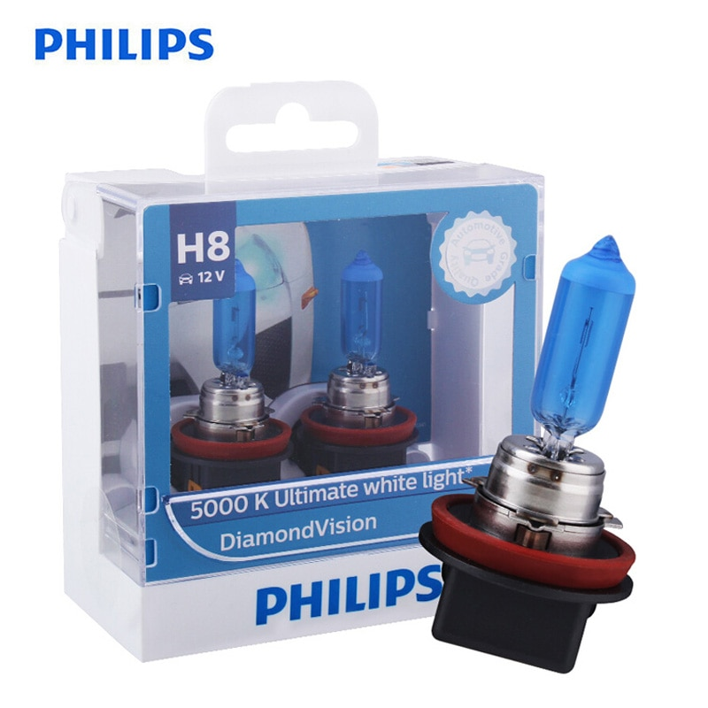 Bombillas halógenas Philips H8 12V 35W Diamond Vision 5000K xenón Super blanco antiniebla, bombillas para coche PGJ19-1 12360DV S2, par