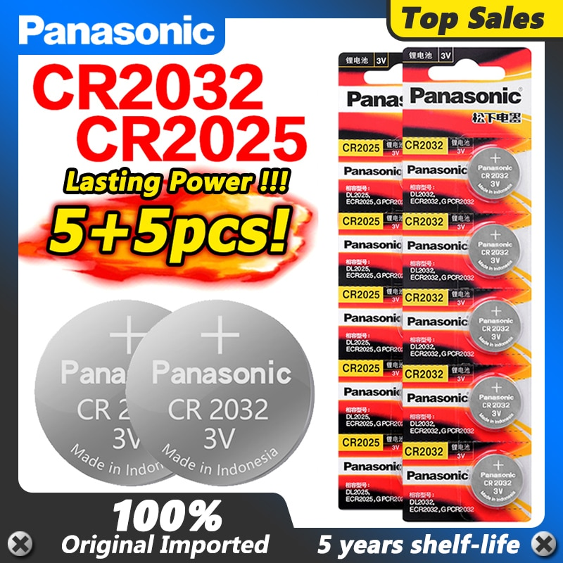 PANASONIC 3V 5 uds Cr2025 + 5 uds Cr2032 pilas para reloj...
