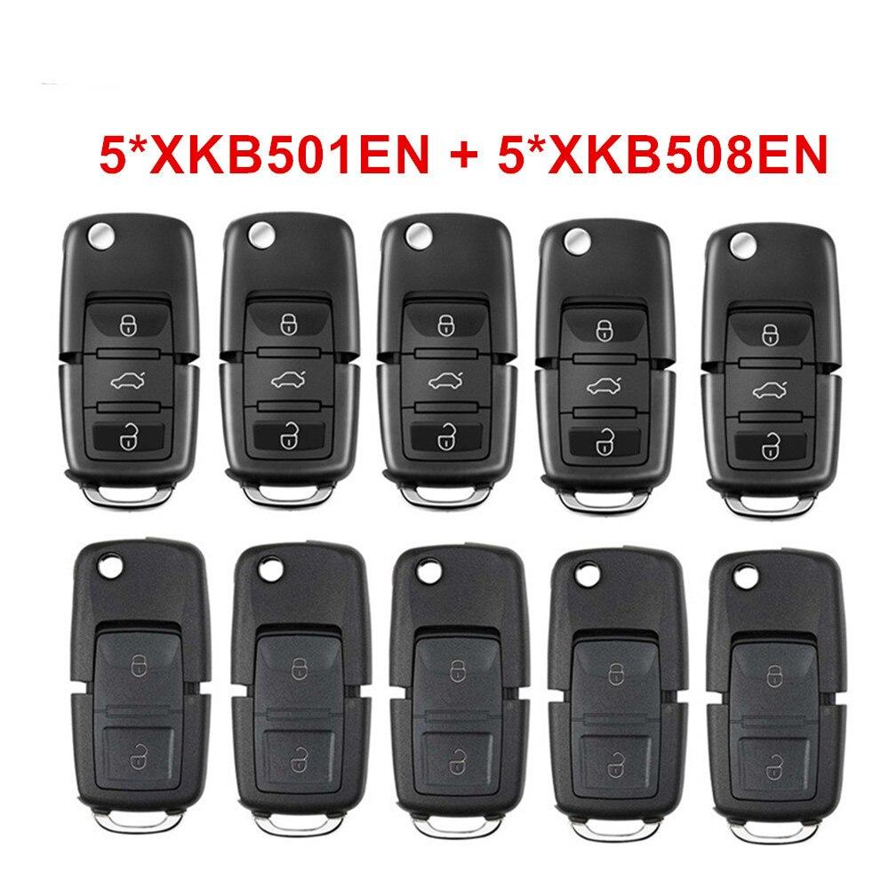 5pcs Xhorse XKB501EN + 5pcs XKB508EN Universal VVDI Wire Remote Keys B5 Style 3 Buttons Board for VVDI/VVDI 2 Mini Key Tool