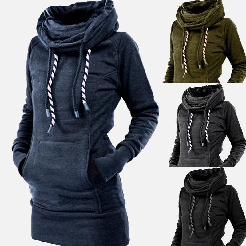 Jersey de cuello alto para Mujer, vestido liso y grueso con capucha, Poleron, Mujer, 2020, cálido túnica, sudadera bordada, vestido largo con capucha de estrella