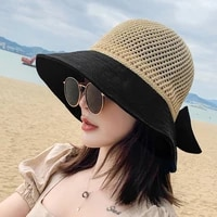women summer weave fisherman hats breathable female sun shade wide visor outdoor beach hat ladies foldable casquette ep0220