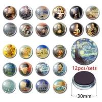 12pcsset famous oil painting glass fridge magnet fridge door magnetic strip 30mm sunflower mona lisa glass crystal cabochon