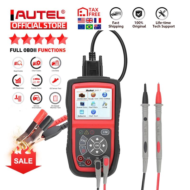 Autel Autolink AL539B OBD2 الماسح الضوئي السيارات الكهربائية اختبار أداة ل odb2 أداة تشخيص EOBD OBD 2 سيارة رمز القارئ PK al539