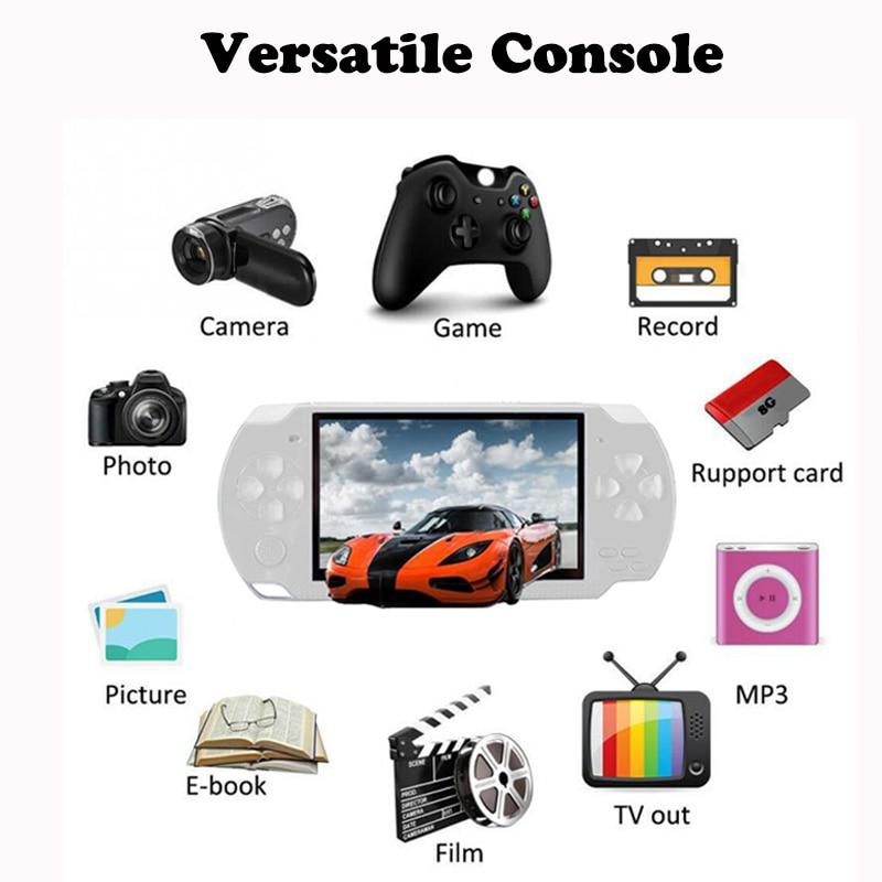 Consola de juegos portátil, 10.000 juegos, pantalla de 4,3 pulgadas, reproductor de Mp4, reproductor de juegos Mp5 Real, 8G, 8 bits, 16 bits, cámara de juegos de 32 bits, Video e-book