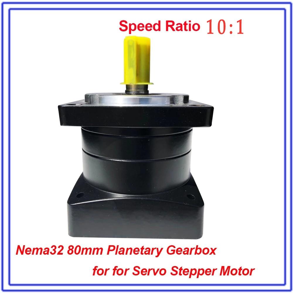 10:1 Nema32 المخفض الكواكب علبة التروس 80 مللي متر سرعة نسبة 10 جهاز تخفيض السرعة رمح 19 مللي متر سيرفو محرك متدرج علبة التروس الكواكب