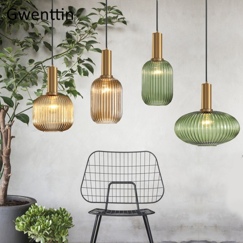 Stained Glass Pendant Lights Dinning Room Kitchen Hanging Lamps Nordic Modern Home Decor Lighting Fixtures Suspension Luminarias 2019 trazos pendant lights led modern for dinning room wooden metal suspension hanging ceiling lamp home lighting for kitchen