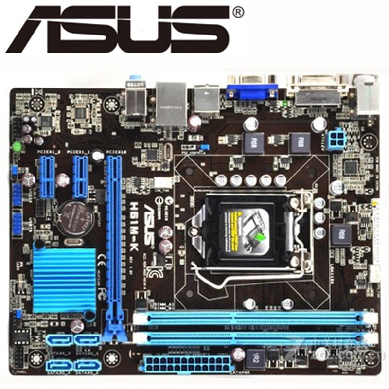 original desktop motherboard for ASUS H61M-K motherboard for intel LGA 1155 DDR3 USB2.0 16GB DVI VGA H61 used boards