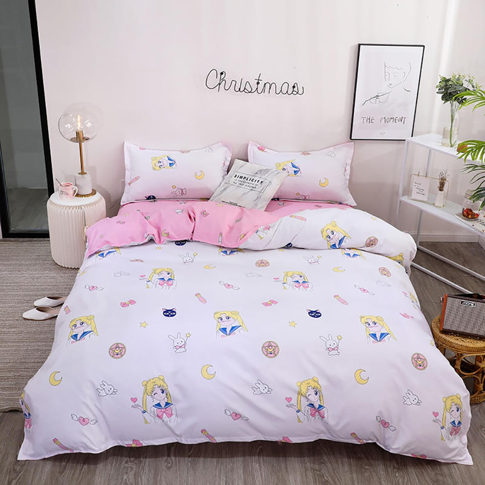 Thumbedding Sailor Moon Bedding Set For Girls Simple Fashionable Duvet Cover Rabbit King Full Twin Single Soft Queen Bed Set