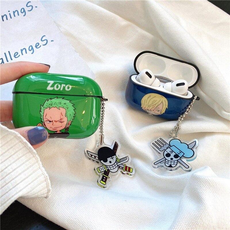 Anime One Piece Shanks Roronoa Zoro auricular caso para Airpods Pro3 caja de carga inalámbrico Bluetooth auriculares cubierta funda de Airpods