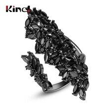 Kinel Luxus Natürliche Wind Unregelmäßigen CZ Zirkon Ring Für Frauen Partei Dating Vintage Schmuck Gun Schwarz Weibliche Ringe Weihnachts Geschenk