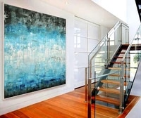large abstract painting white blue black artwork contemporary oil painting wall decor abstract hand painted design art