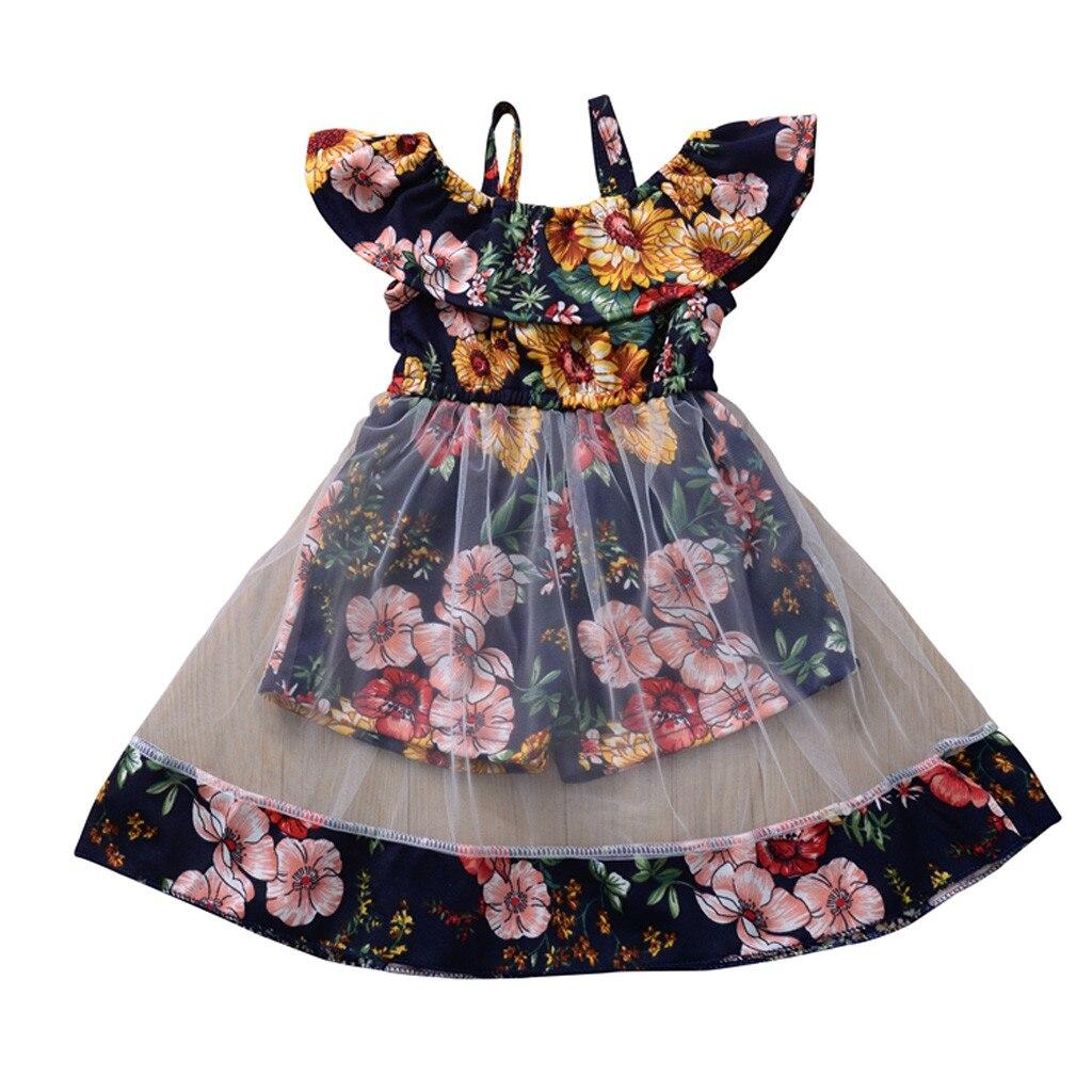 ¡Novedad! Vestido con estampado de flores para bebés y niñas, vestidos de malla con volantes, vestidos florales para niñas, ropa de verano