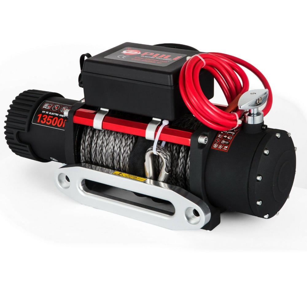13500LBS 12V Electric Winch + 27M Synthetic Rope, 2 Wireless Control, for ATV SUV Boat Truck Trailer Recovery Off Road Winch