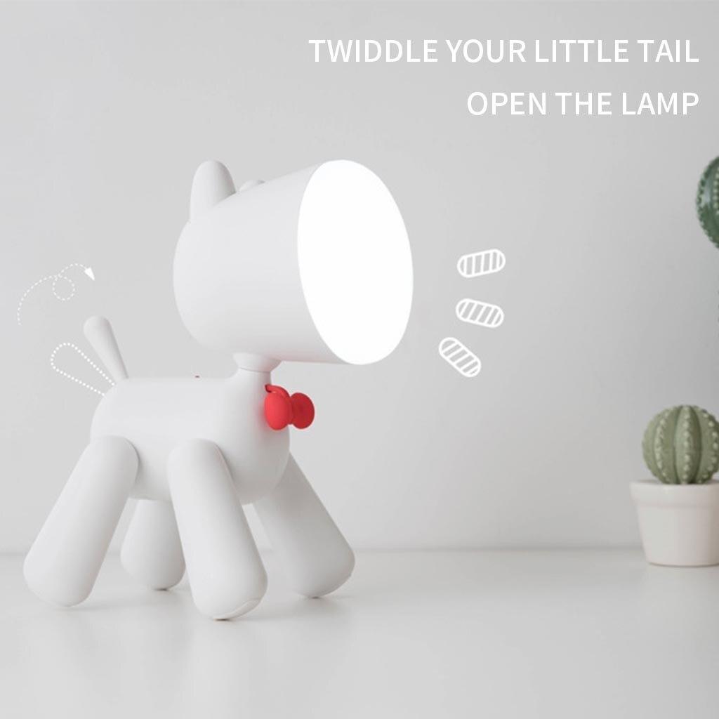 Lâmpada de mesa led usb exigível cão luz forma filhote cachorro bonito crianças noite lâmpada de mesa + linha carregamento usb