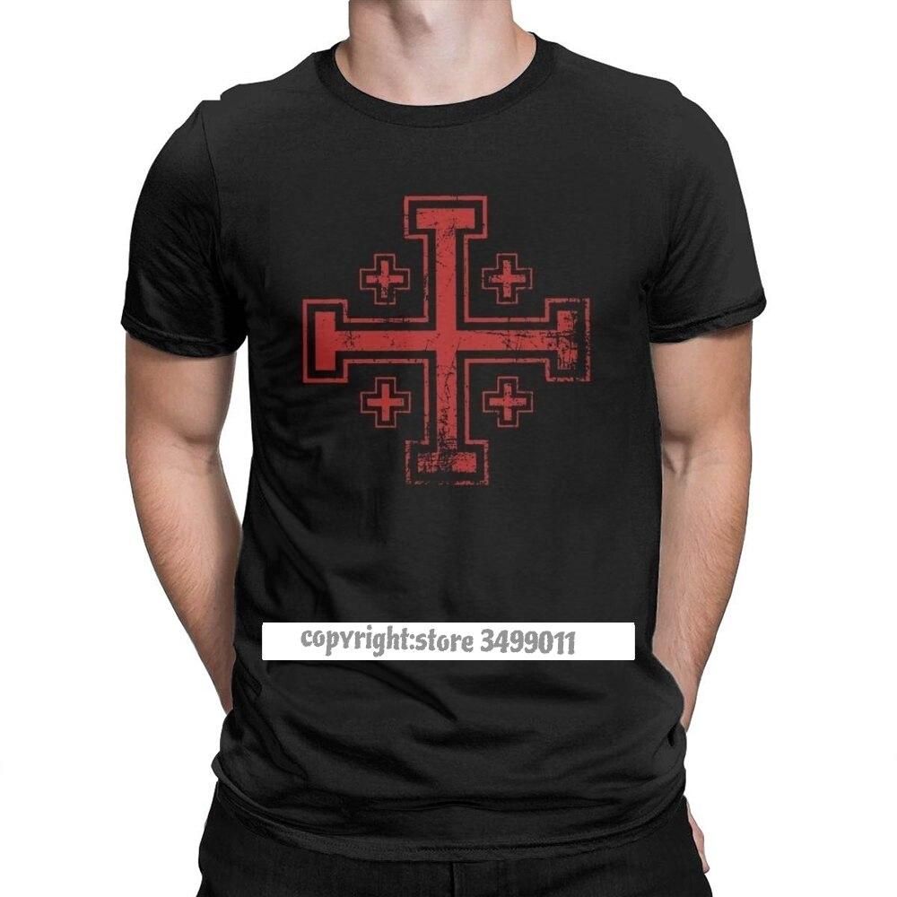 Engraçado cruzado cruz de jerusalém topos t camisa masculina em torno do pescoço solto t camisa cavaleiros templários camisas harajuku