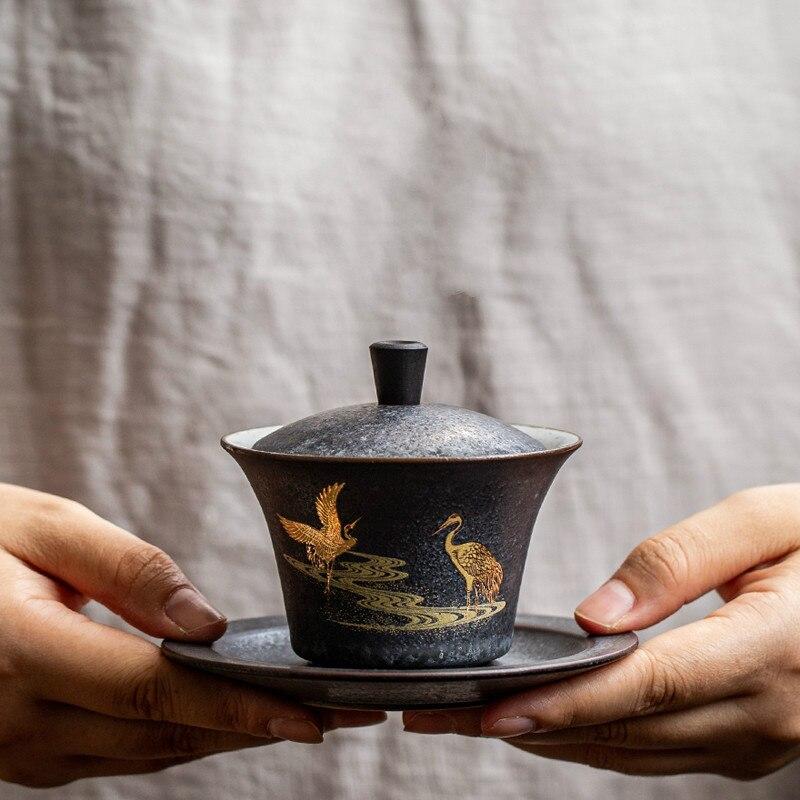 كوب شاي gaiwan من السيراميك ، طقم شاي الكونغ فو الصيني ، أواني الشرب ، MJ82211