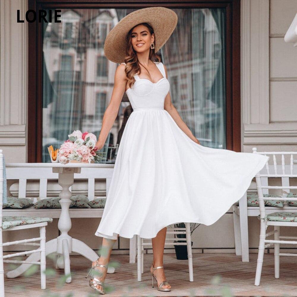 لوري-فستان زفاف ساتان أبيض قصير ، فستان سهرة ، ظهر مفتوح ، أميرة ، طول الشاي ، 2020