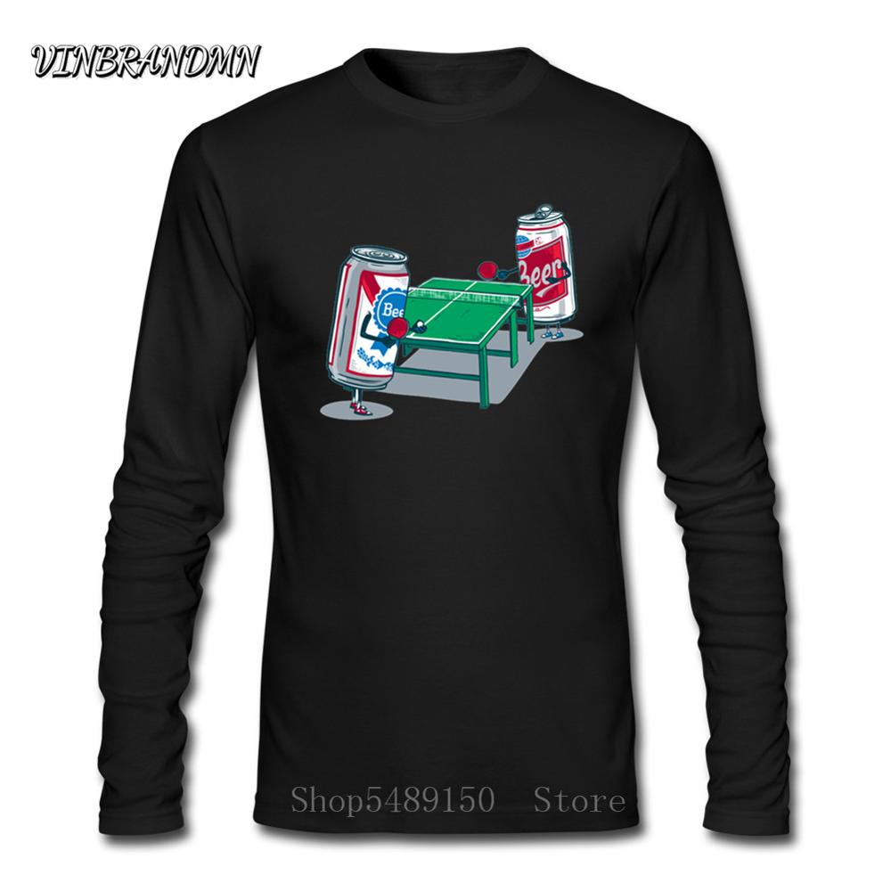 Beer Pong Just A Couple Of Beer Cans Enjoying A Friendly Game Of Table Tennis Black T-Shirt New Men T Shirt Hombre Funny Tshirts